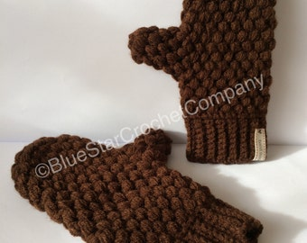 Puff stitch crochet mittens -crochet pattern -instant download -pdf file -UK and US crochet terms