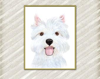 """Westie Dog Prints: """"WESTIE PUPPIES"""" Dog digital prints Nursery art Kids printable Watercolor dog Printable puppy White terrier White Westie"""