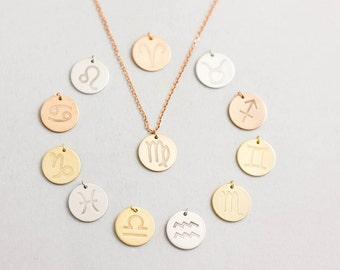 Zodiac Necklace, Necklace Zodiac Sign, Star Sign Necklace, Birthday Sign Necklace, Astrology Necklace, Birthday Gift, Zodiac Pendant, SN0115