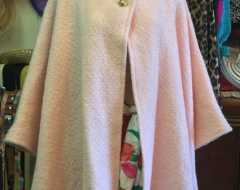 Pink Mohair & Satin Cape with Buttons, Vintage 1960s. Perfect for everyday, over an evening gown or for travel.