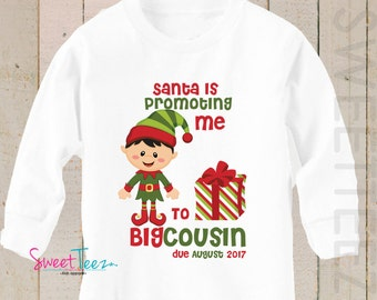 Big Cousin shirt Promoting me to Big Brother LONG SLEEVE Shirt Christmas Elf Personalized Due Date Shirt Sibling Announcement Shirt