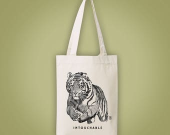 Sac cabas en toile recyclée (recycled woven tote bag, shopping bag) tigre INTOUCHABLE untouchable tiger animal totem illustration