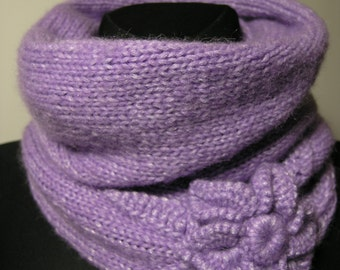 Handmade knitted neck warmer with crochet flower,warm and soft snood,winter accessory,woolen scarf