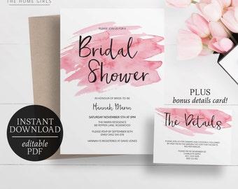 Printable Bridal Shower Invitation Watercolor | Editable Template | Kitchen Tea Invitation | Pink | Blush | Digital Download | Watercolour