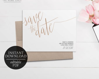 Save The Date Rose Gold Foil Printable | Editable Template | Faux Rose Gold Foil Save the Date | Matching Invitation Suite | Wedding | Cleo