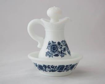 Vintage Avon Skin So Soft Bath Oil Milk Glass Decanter and Bowl Set - Navy Blue Design
