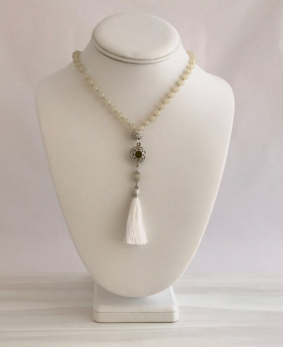 Meditation mala, long necklace, tassel, bohemian glass beads, yoga beads, prayer beads, talisman