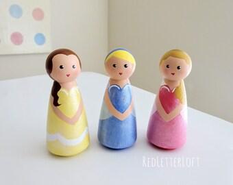 Disney Princess Peg Dolls//Disney Princess Toys//Disney Princess Gifts//Disney Cake Toppers//Disney Princess Ornaments//Princess Birthday