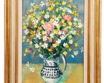 Andre Vignoles, Bouquet Aux Silenes Blancs, Oil on Canvas