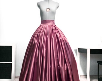 Dusty rose satin skirt Wedding gown Blush bridal skirt Prom ball gown Full maxi skirt Crinoline underskirt Lace Long Pleated High waisted