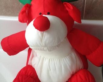 Stuffins 1993 Puffalump Reindeer Stuffed Animal Christmas Bells