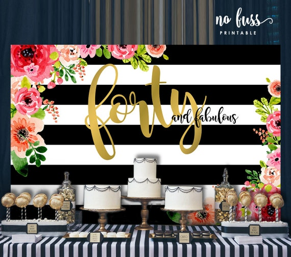 Forty And Fabulous Backdrop Adults Party Banner Poster