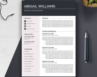 Resume Template Word | CV Template + Cover Letter | Professional, Modern, Creative Resume Design | Instant Download | PC or Mac | ABIGAIL