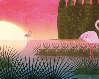 Narava - Pink flamingos print