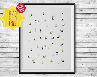 Geometric wall art, triangle art, green print, minimalist wall decor, home decor wall art, pattern print, new house gift, gift for architect