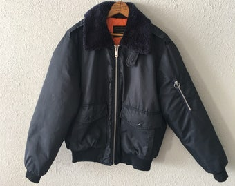 1980's Sherpa Bomber Military Inspired Vintage Puffer Jacket by JC Penney