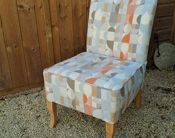 Newly Reupholstered Retro Print Accent Occasional Chair