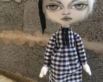 Black&white cloth art doll OOAK