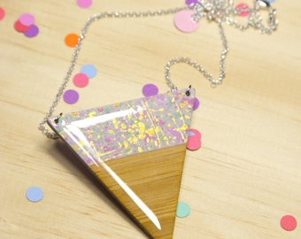 Grey Splatter Dipped Triangle Necklace