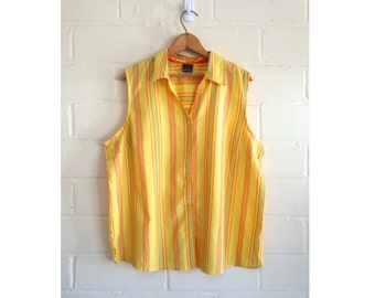 CLEARANCE! Vintage 80s sunny yellow striped sleeveless shirt / button-up collared tank top