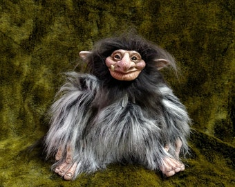 Troll Doll Black with White Tips Faux Fur Male