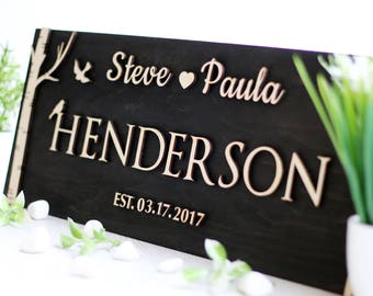Personalized Family Name Signs Wood Rustic Last Name Sign Family Established Sign Home Wall decor Custom Family Name Sign Gift for family
