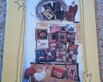 Sew Many Pillows from PIeces From My Heart - Primitive Pattern book - Sandy Gervais - Pillows - Stitchery - Applique