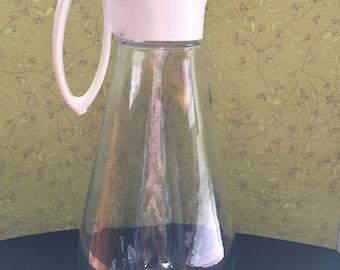 Large Vintage Log Cabin Syrup Dispenser- Glass