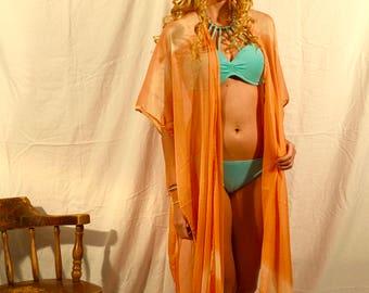 Peach Tie-Dye Shawl