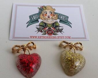 Heart cuties // Vintage style charm brooch