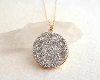 Silver Druzy Necklace 18K Gold Vermeil Crystal Pendant Gold Filled Chain Free Shipping OOAK Jewelry