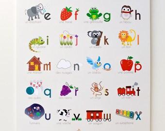 "French Alphabet 12""x18"" Print"