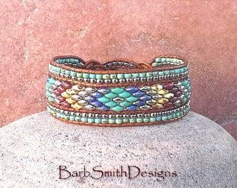 Southwest Leather Wrap Bracelet-Beaded Leather Cuff Bracelet-Turquoise Blue Red Silver-Celtic Bracelet-Custom Sizes-The Knotty One in Aztec