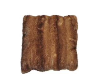 Recycled real fur cushion: wild cat, dark or pale mink