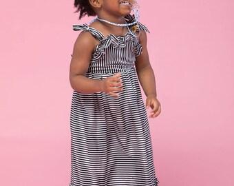 Chloe Maxi- Black & White Poplin Stripe
