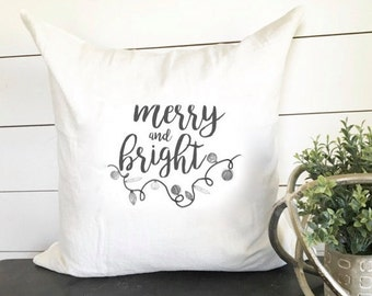 Merry and Bright Christmas Pillow 18 x 18  // Christmas Decor / Holiday/ Christmas / Throw Pillow / Accent Pillow / Gift