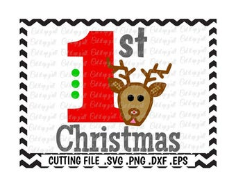 First Christmas Svg, Baby First Christmas, My First Christmas Svg-Dxf- Png-Eps-Fcm, Cutting Files for Silhouette Cameo/Cricut, Svg Download.