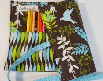 Colored Pencil Roll - Teal Birds, Pencil case, Pencil organizer, 24 colored pencils