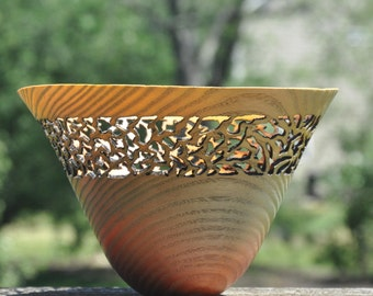 570 Decorative, Pierced and Dyed Ash wood bowl