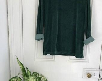 1990s Green Velor Long Sleeve Top S M