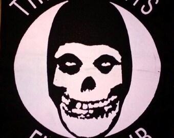 BACK PATCH - Misfits Fiend Club - canvas HORROR punk rock - Samhain, Glenn Danzig, plan 9 records, crimson ghost