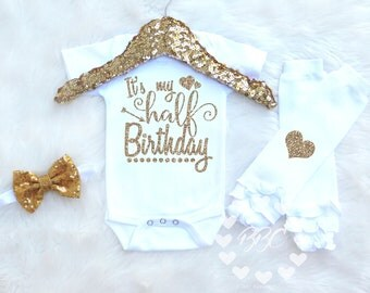 Half Birthday Girl, 6 Month Birthday, Girls Half Birthday Outfit, 1/2 Birthday Clothes, One Piece, Gold Glitter, Sparkle Bow, Leg Warmers