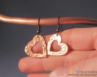 open heart copper dangle earrings gift for sister