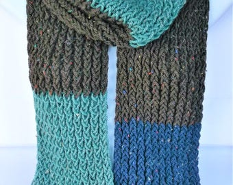Extra long scarf, blue wool scarf, oversized scarf, brown scarf, blue knit scarf, knitted scarves, colourful scarf, woolly scarves, lelsloom