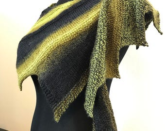 Hand knit wool gradient caplet wrap or shawl