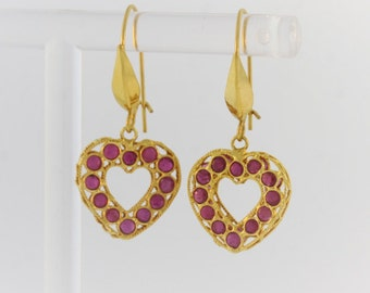 Vintage Ruby Heart Earrings- 18k Yellow Gold