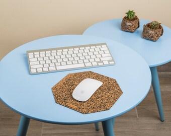 Cork MousePad, octagonal Mouse Pad, Office desk Decor, Office Decoration, Computer Accessories, Teacher Gift, new office / job gift