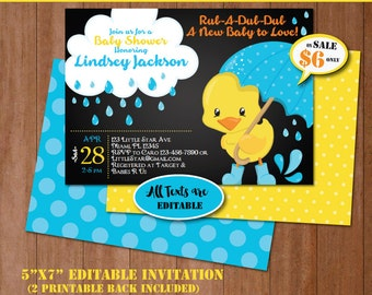 Rubber Duck Baby Shower Invitation-Self-Editing Chalkboard Rubber Ducky Baby Shower Invite-Printable Yellow Duck Party Invitation