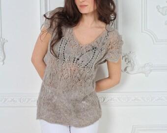 Alpaca top, Woman top, Hand knit top, Alpaca blouse, Evening top, Romantic top, Womens Knit Blouse,Alpaca sweater, Boho Top, Gray top