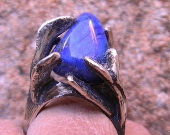 Cast silver ring lapis lazuli